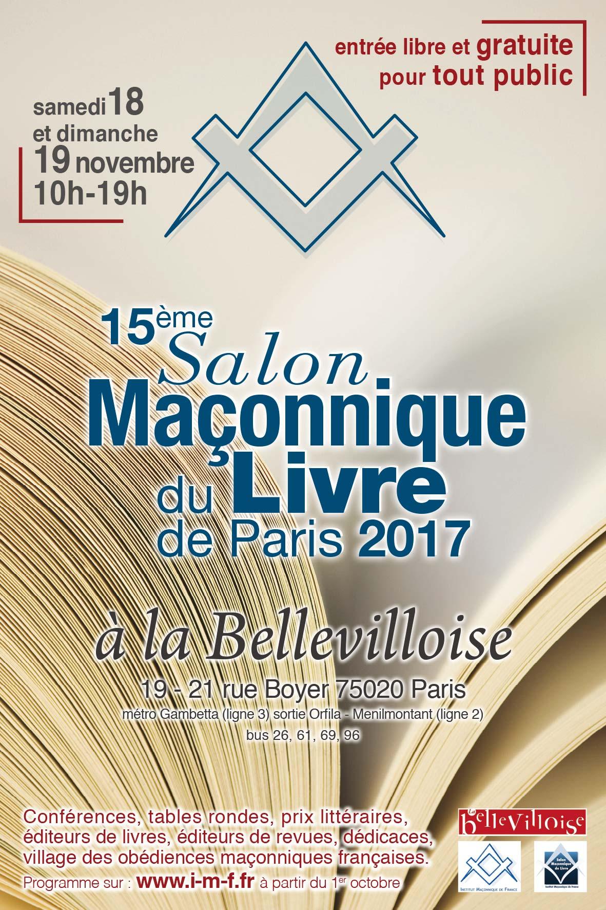G l t i18 et 19 novembre salon du livre ma onnique - Salon paris septembre 2017 ...